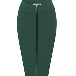 Dresses & Skirts - Womens Stylish Exposed Front Zip Stretchy Pencil S